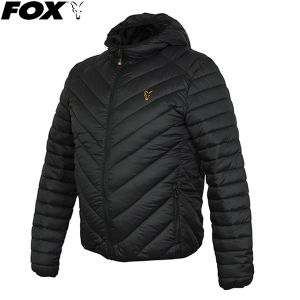 Fox Collection Quilted Jacket Black/Orange - bélelt kabát