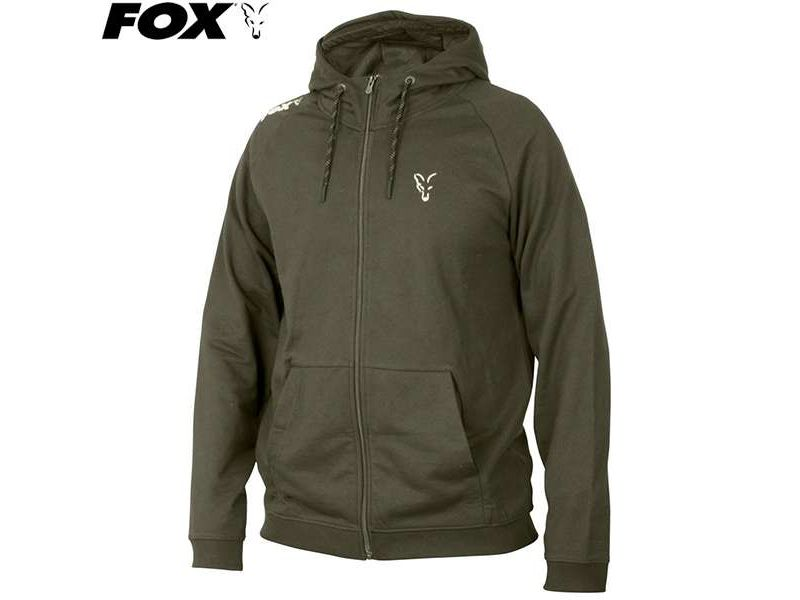 Fox Collection Green&Silver Lightweight Hoodie - cipzára
