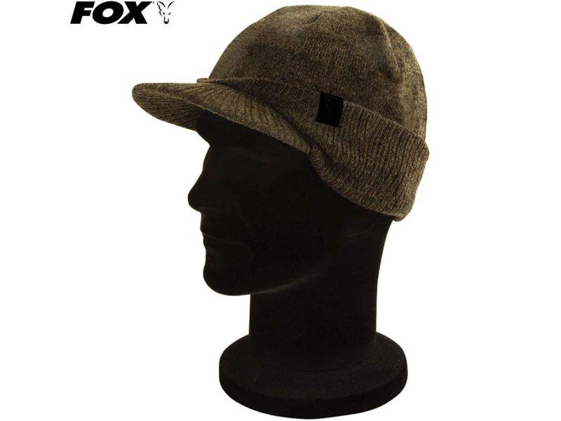 Fox Khaki / Black Peaked Beanie kötött sapka