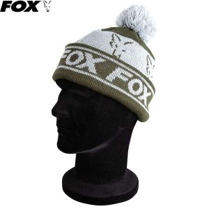 Fox Green / Silver Lined Bobble kötött bojtos sapka