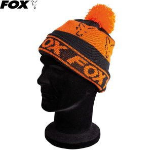 Fox Black / Orange Lined Bobble kötött bojtos sapka
