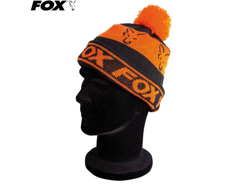 Fox Black / Orange Lined Bobble kötött bojtos sapka