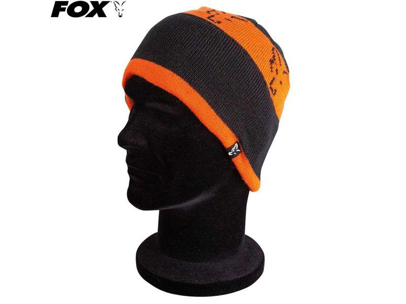 Fox Black / Orange Beanie kötött sapka